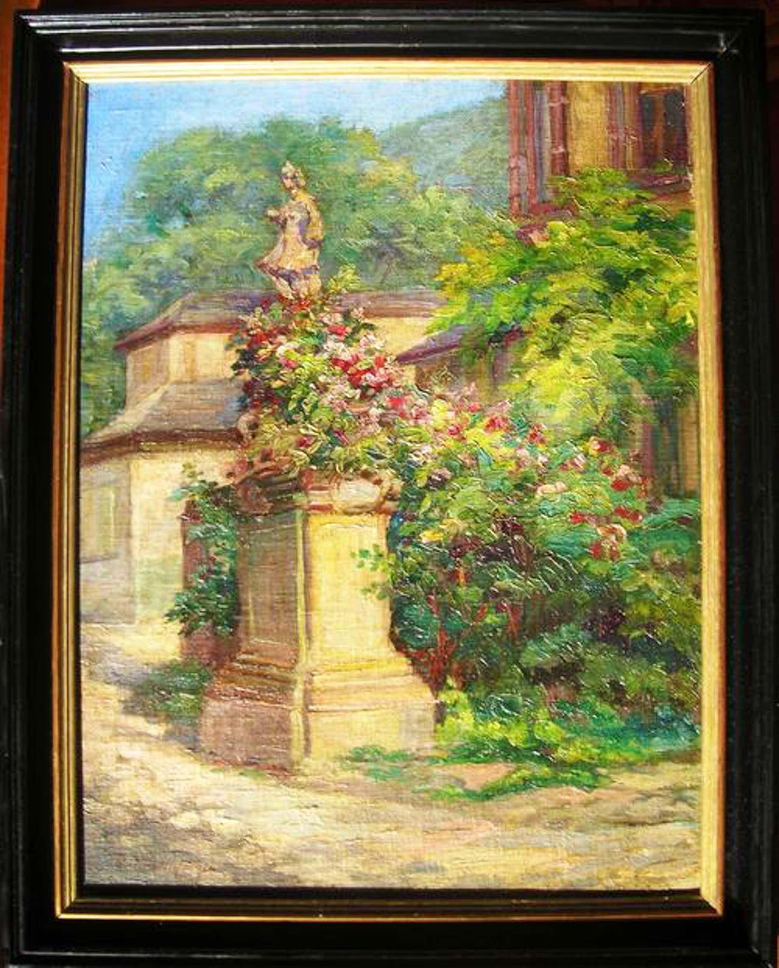 Theodor Waldraff - Malerischer Winkel in Heidelberg (Schloss), Ölgemälde von 1921 kopen? Bied vanaf 480!