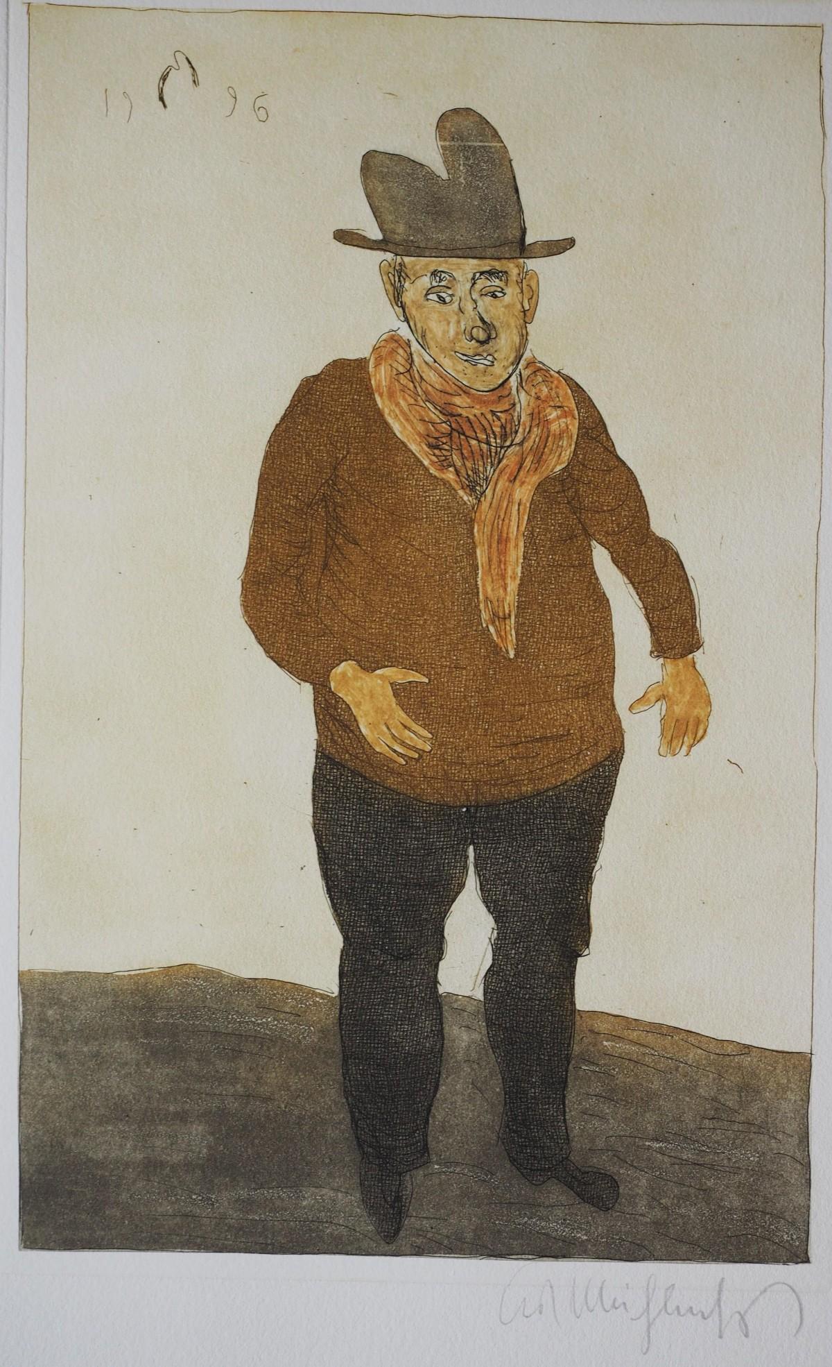 Kurt Muhlenhaupt - Mann mit Hut, Selbstbildnis, Farbradierung 1996 kopen? Bied vanaf 90!