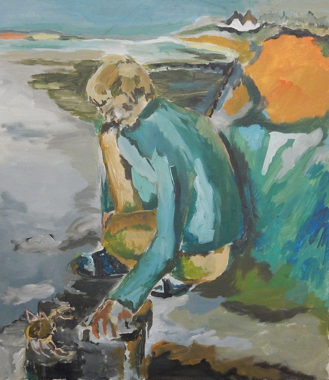 Anatol Herzfeld - Manni Becker als Krebsfänger, Ölgemälde, 90,5x80,5 cm, verso signiert 1966 kopen? Bied vanaf 790!