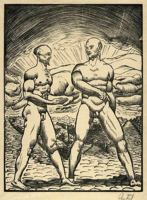Walter Teutsch - MÄNNLICHE AKTE - Handsignierter OriginalHolzschnitt des NS-Verfemten EXPRESSIONISTEN 1919 kopen? Bied vanaf 85!