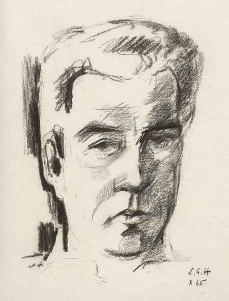Ernst Georg Heussler - Männliches PORTRAIT - Handsignierte Original KreideZeichnung d. SCHWEIZer WANDMALERs aus BASEL 1965( kopen? Bied vanaf 95!