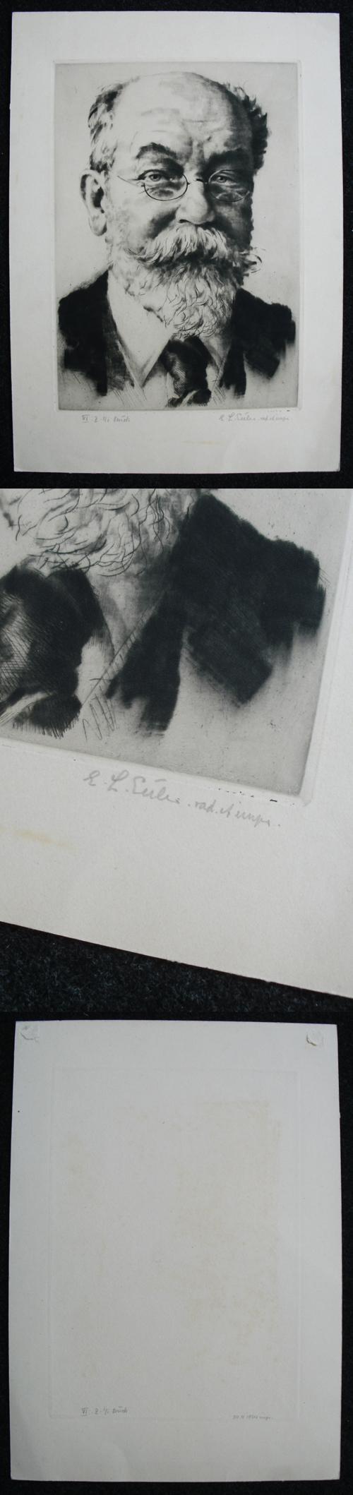 Emil Ludwig Euler - Männliches Portrait. Radierung, 1925. kopen? Bied vanaf 120!