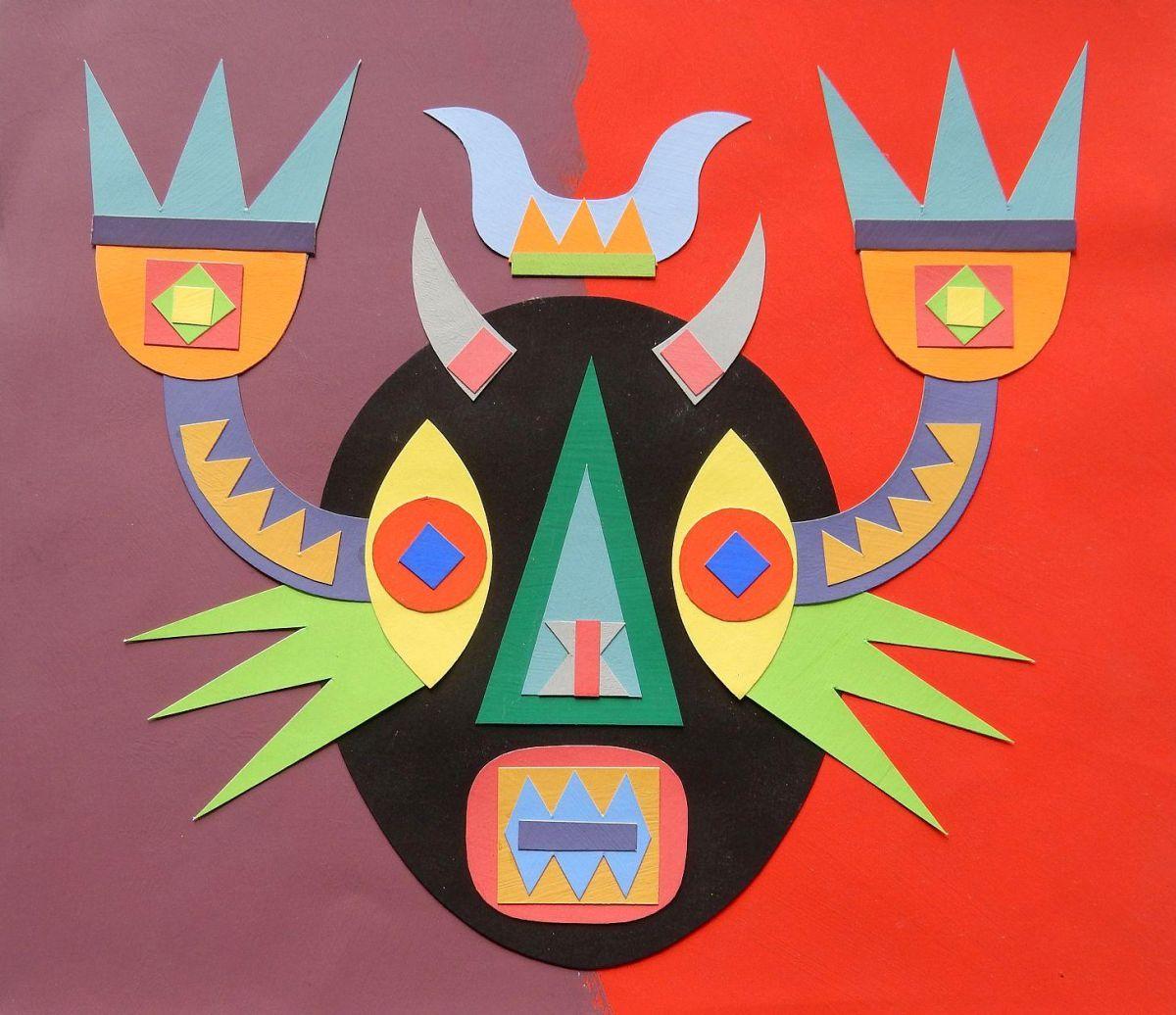 Herbert Rodriguez - Maske, Collage, 19,5x23 cm, ohne Jahr, Unikat kopen? Bied vanaf 290!