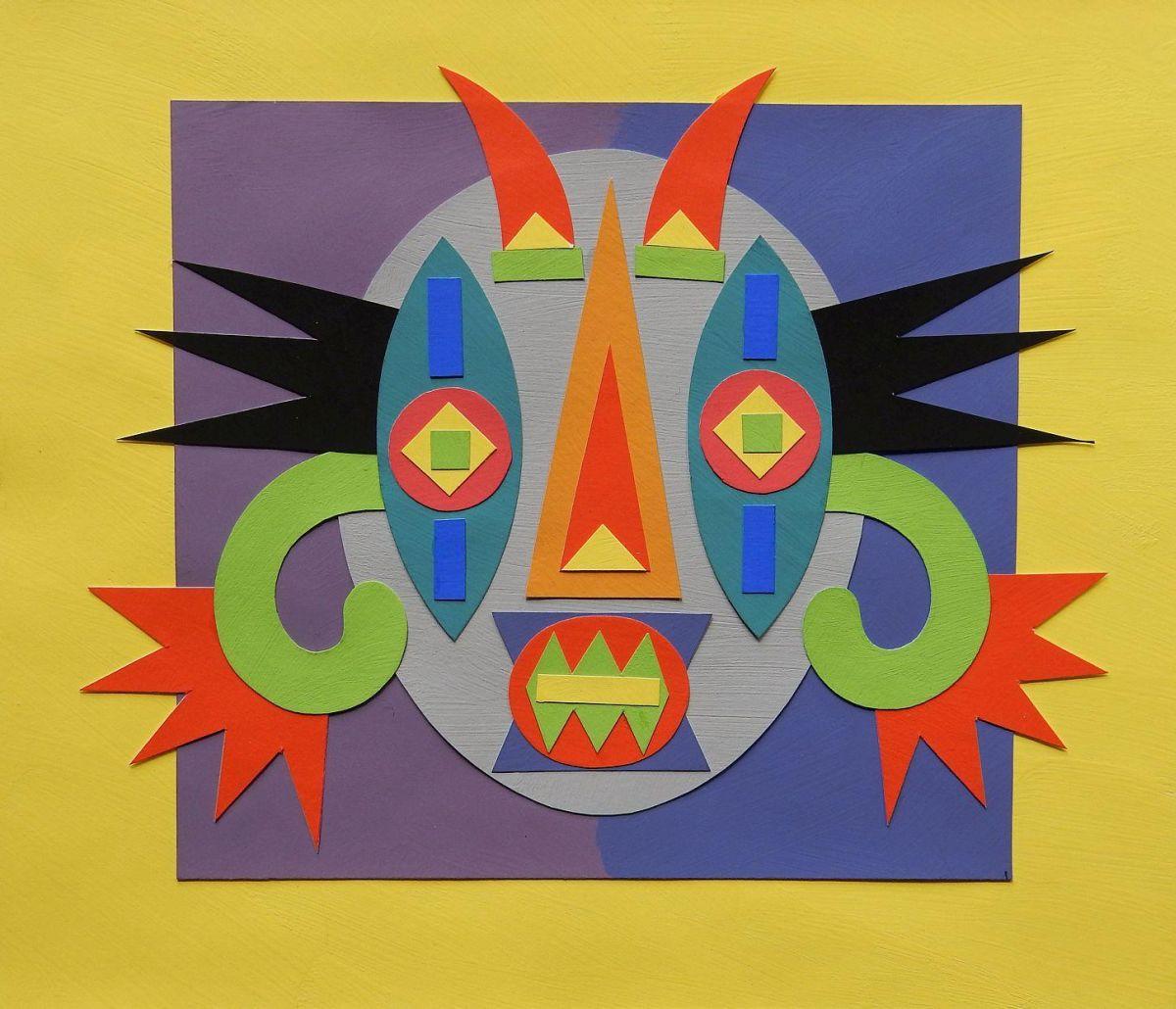 Herbert Rodriguez - Maske, Collage, 19,5x23 cm, verso signiert 1998, Unikat kopen? Bied vanaf 340!