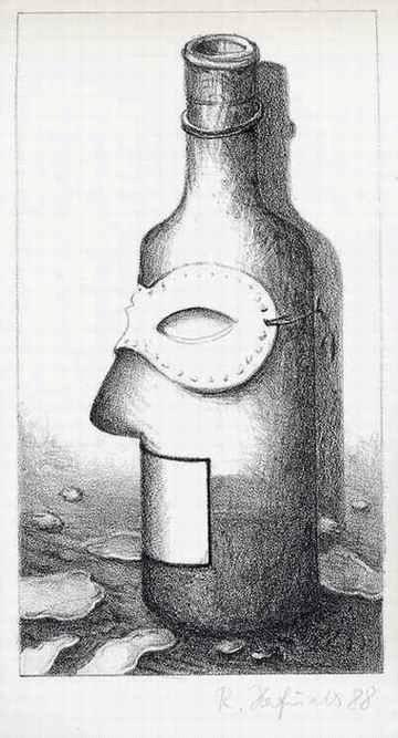 Renate Herfurth - - MASKIERTE FLASCHE - OriginalLithographie der Karl-Georg HIRSCH-Schülerin - handsigniert 1988 kopen? Bied vanaf 65!