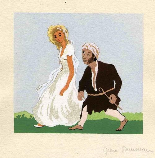 Jean Bruneau - MELINADE & der BLINDE - 1947 Handsignierte Tuschezeichnung zu VOLTAIREs PHILOSOPHISCHE ERZÄHLGEN kopen? Bied vanaf 120!