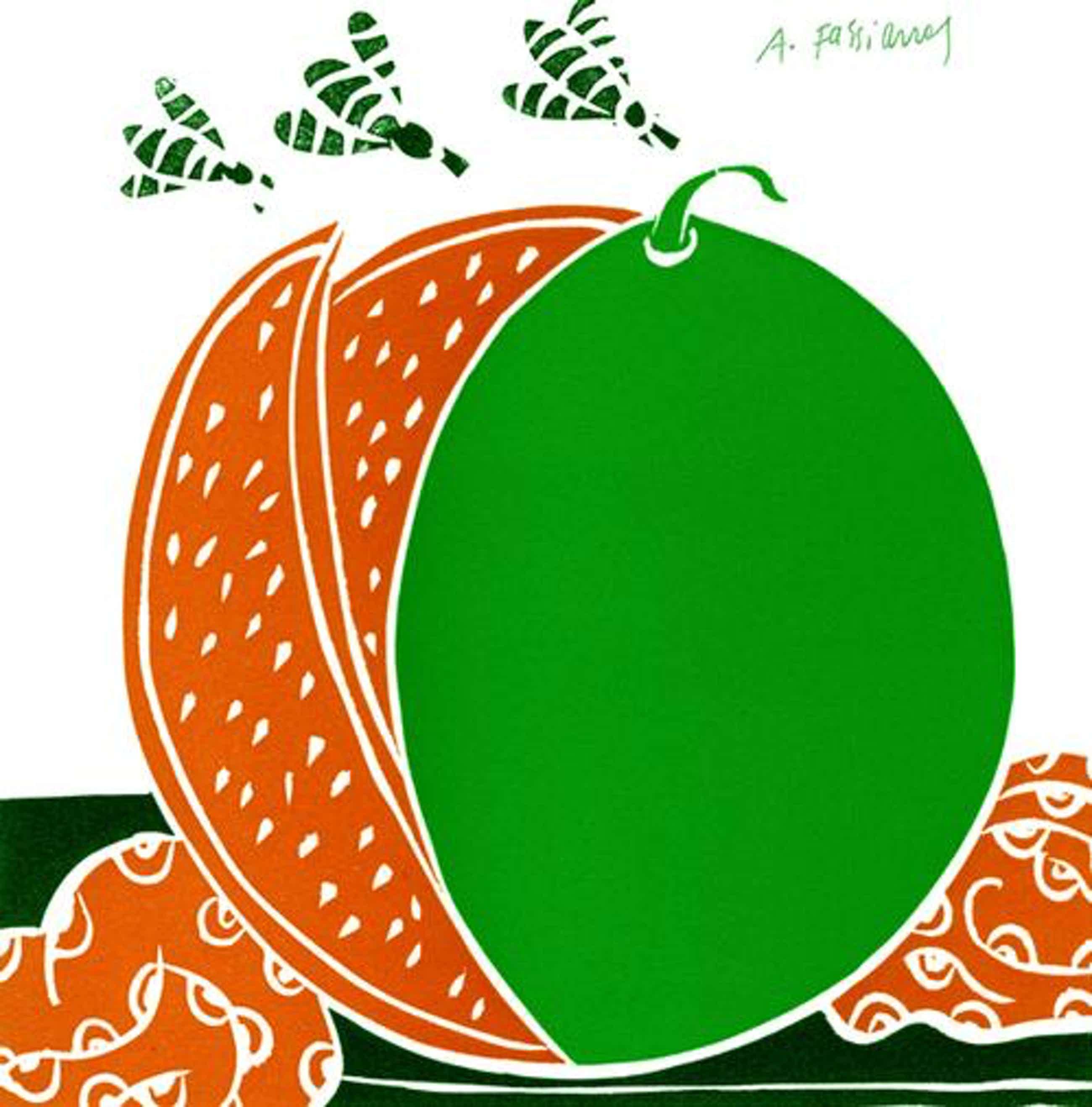 Alexandre Fassianos - Melone und Insekten, Lithografie kopen? Bied vanaf 55!
