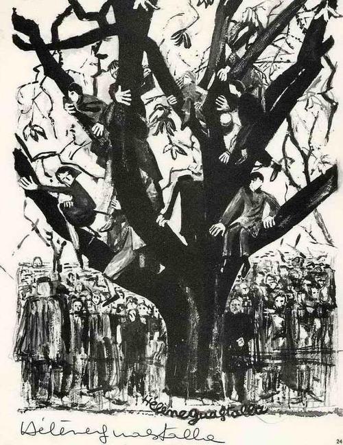 Hélène Gustalla - MENSCHENTRAUBEN als BAUMSCHUTZ - 1963 - Druckgraphik auf ARCHES-Bütten kopen? Bied vanaf 35!