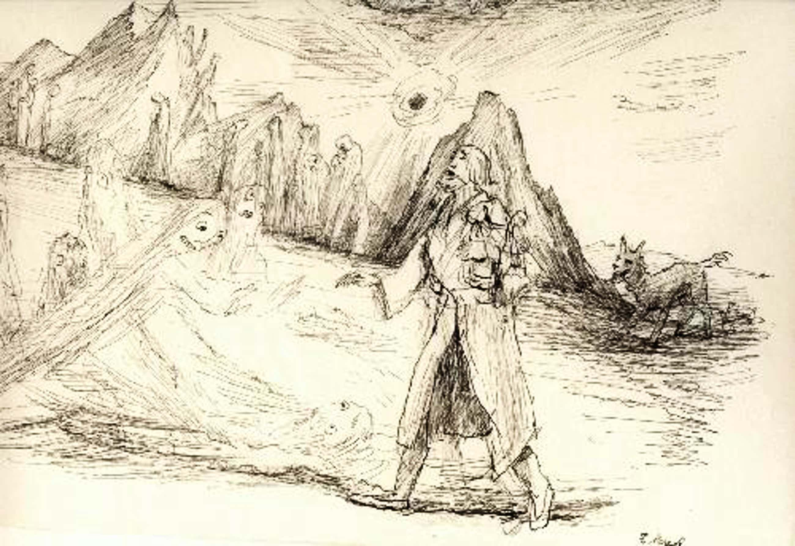 Felix Meseck - Meseck Drei Zeichnungen,zwei signiert Orpheus in der Unterwelt kopen? Bied vanaf 720!