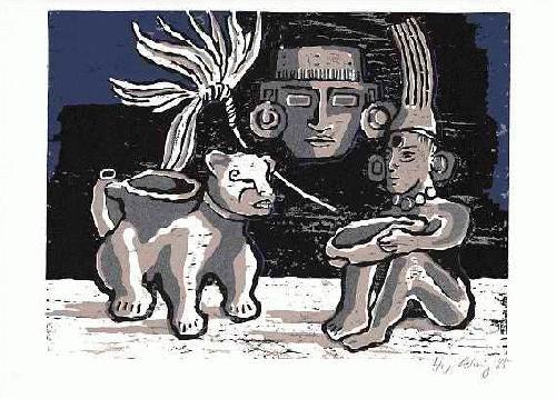 Helmut Gehrig - MEXIKANISCHE FIGURENGRUPPE - 1985 datierter & handsignierter OriginalFarbHolzschnitt kopen? Bied vanaf 42!