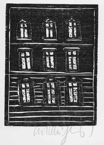 Kurt Muhlenhaupt - MIETSHAUS - OriginalHolzschnitt d. BERLINER Künstlers d.Gruppe BLÜCHERSTRASSE 23 - handsigniert 1976 kopen? Bied vanaf 45!