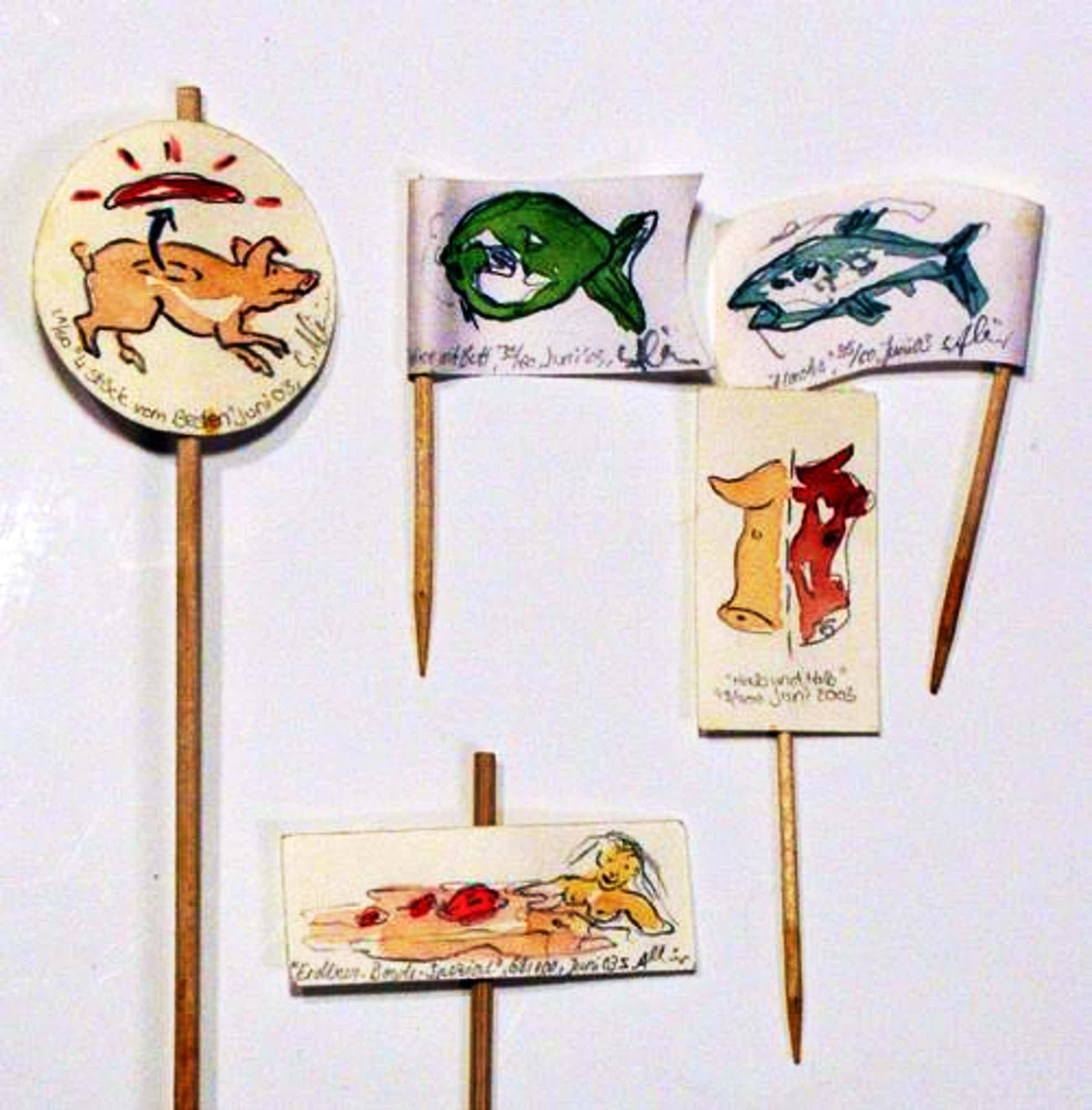 Sonja Alhäuser - Miniaturaquarelle aus Eat Art-Performance 2003 kopen? Bied vanaf 300!