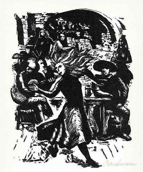 Went Strauchmann - Mit ZWÖLF JAHREN SANG SIE - OriginalLinolschnitt des MÜNCHNERs aus KAUNAS - HANDSIGNIERT 1963 kopen? Bied vanaf 28!