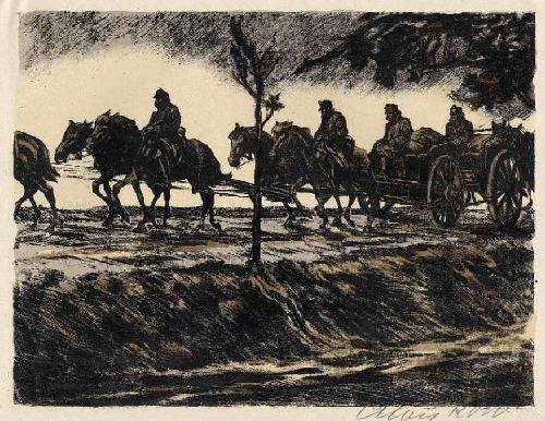Alois Kolb - MUNITIONSKOLONNE OSTGALIZIEN - Handsignierte handcolorierte OriginalLithographie 1917 SEZESSION WIEN kopen? Bied vanaf 48!