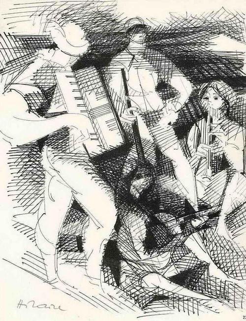 Camille Hilaire - MUSIKANTEN - 1962 - Handsignierte Druckgraphik auf ARCHES-Bütten kopen? Bied vanaf 35!