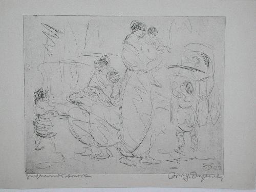 Wilhelm Oesterle - Mütter mit Kindern Orig.-Radierung sign. Zustandsdruck 1922 Herbolzheim Berlin kopen? Bied vanaf 75!