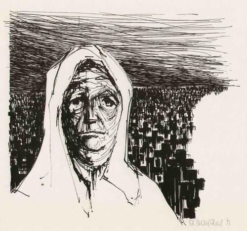 Hartmut Henschel - MUTTER und SÖHNE - Handsignierte ANTIKRIEGs-Graphik des Illustratoren aus der UCKERMARK 1971 kopen? Bied vanaf 65!
