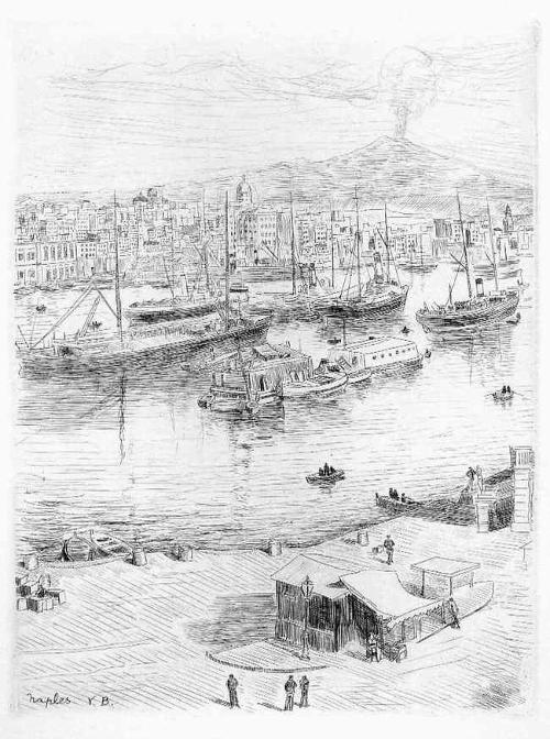 Valdo Louis Barbey - NAPOLI - 1949 OriginalRadierung des PARISer BEAUX-ART-Schülers - Der HAFEN von NEAPEL kopen? Bied vanaf 32!