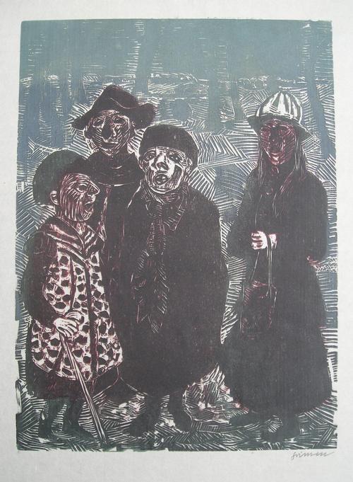 Willem Grimm - Nebliges Neujahr, Farbholzschnitt von 1968, handsigniert kopen? Bied vanaf 120!
