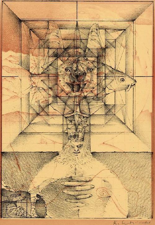 Konrad Schüler - NEPTUNS BANDAGEN - SURREALE handsignierte Lithographie des Prof.der HDK BERLIN - 1973 kopen? Bied vanaf 36!