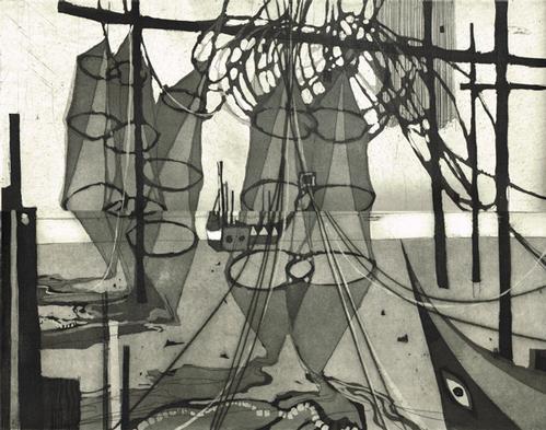 Otto Wilhelm Eglau - Netze und Boote,Portugal, 1960,Radierung kopen? Bied vanaf 980!