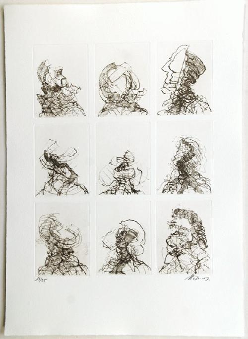Rudolf Hoflehner - - NEUN KÖPFE - Radierung auf Büttenpapier, handsigniert, numeriert kopen? Bied vanaf 390!