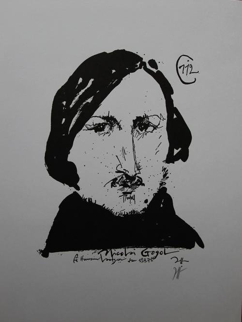 Horst Janssen - Nicolai Gogol, Zinkographie, monogrammiert, 1971 kopen? Bied vanaf 40!