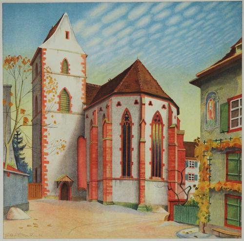 Niklaus Stoecklin - Niklaus Stoecklin, Farblithographie, Baseler Kirche kopen? Bied vanaf 75!