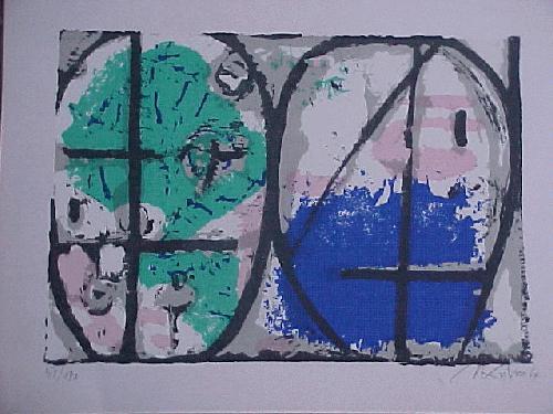 Hans Kuhn - Ohne Titel, Farbsiebdruck 1964 kopen? Bied vanaf 90!