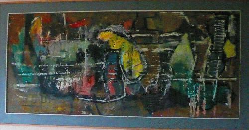 Archibald Bajorat - Ölbild auf Hartfaserplatte 1959 - Frankfurt - kopen? Bied vanaf 1200!