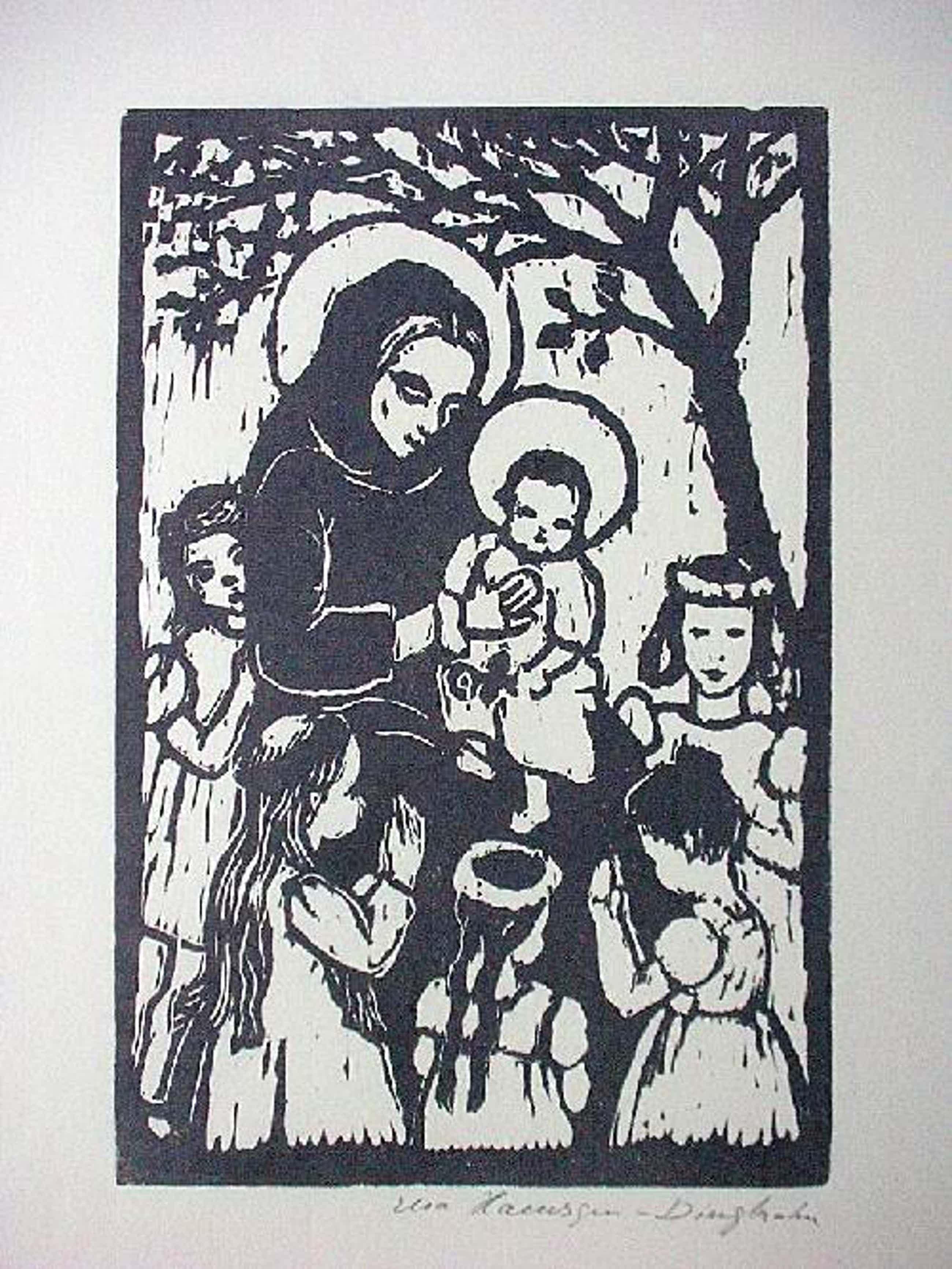 Elsa Haensgen-Dingkuhn - Orig. Holzschnitt 1952, Maria mit Kind, signiert kopen? Bied vanaf 70!