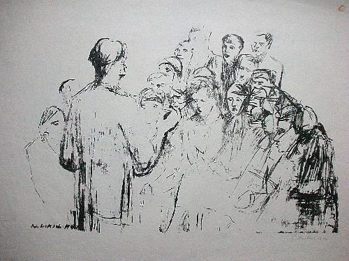Peter Luksch - Orig. Lithographie 1946, signiert, Russischer Chor kopen? Bied vanaf 45!