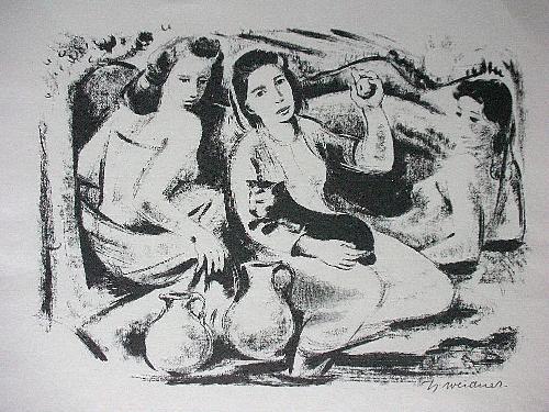 Hanns Weidner - ORIG. Lithographie 1950, Mädchen an der Quelle, signiert kopen? Bied vanaf 60!