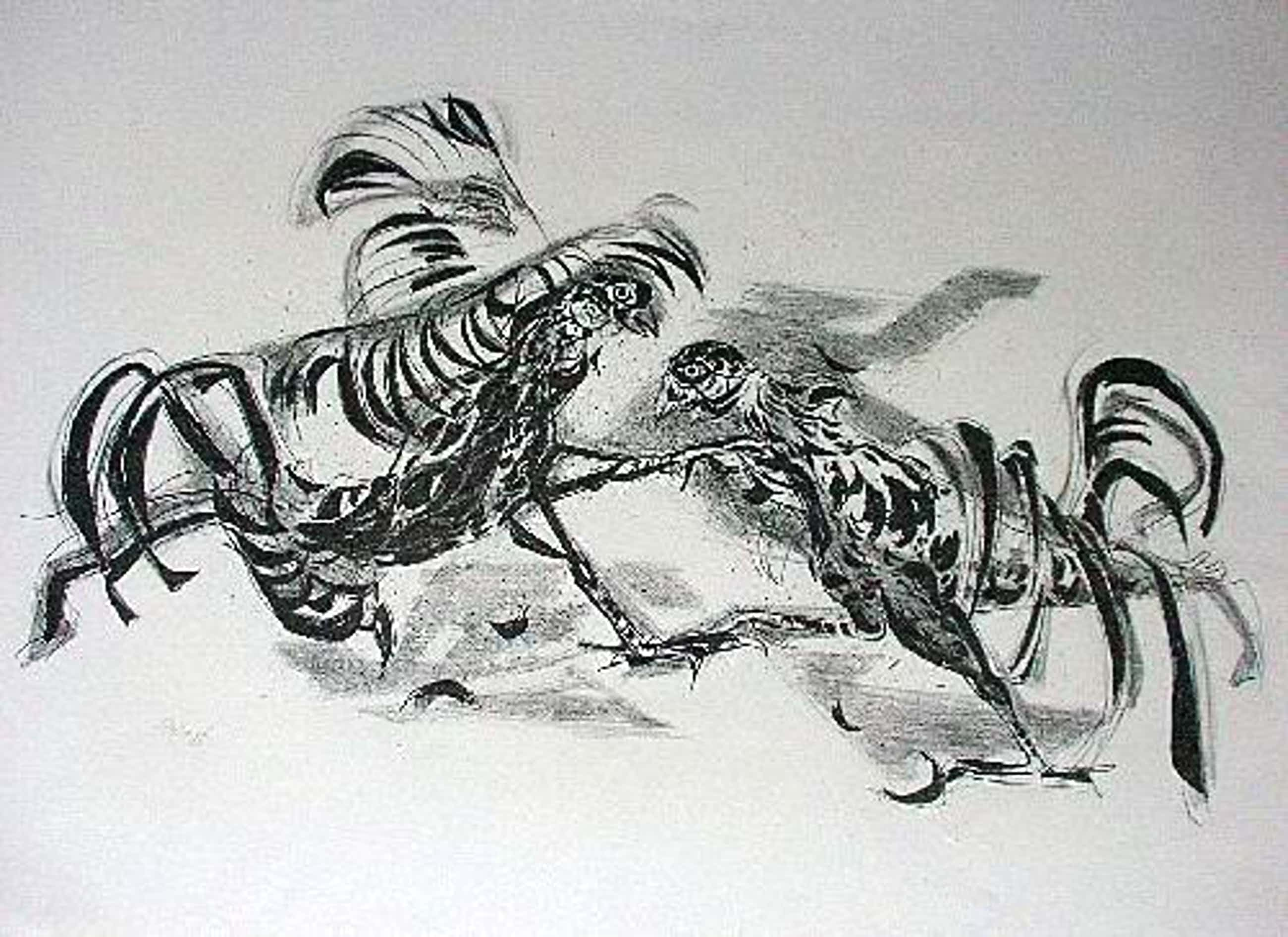 Eduard Hopf - Orig. Lithographie 1955, Hahnenkampf, signiert kopen? Bied vanaf 40!