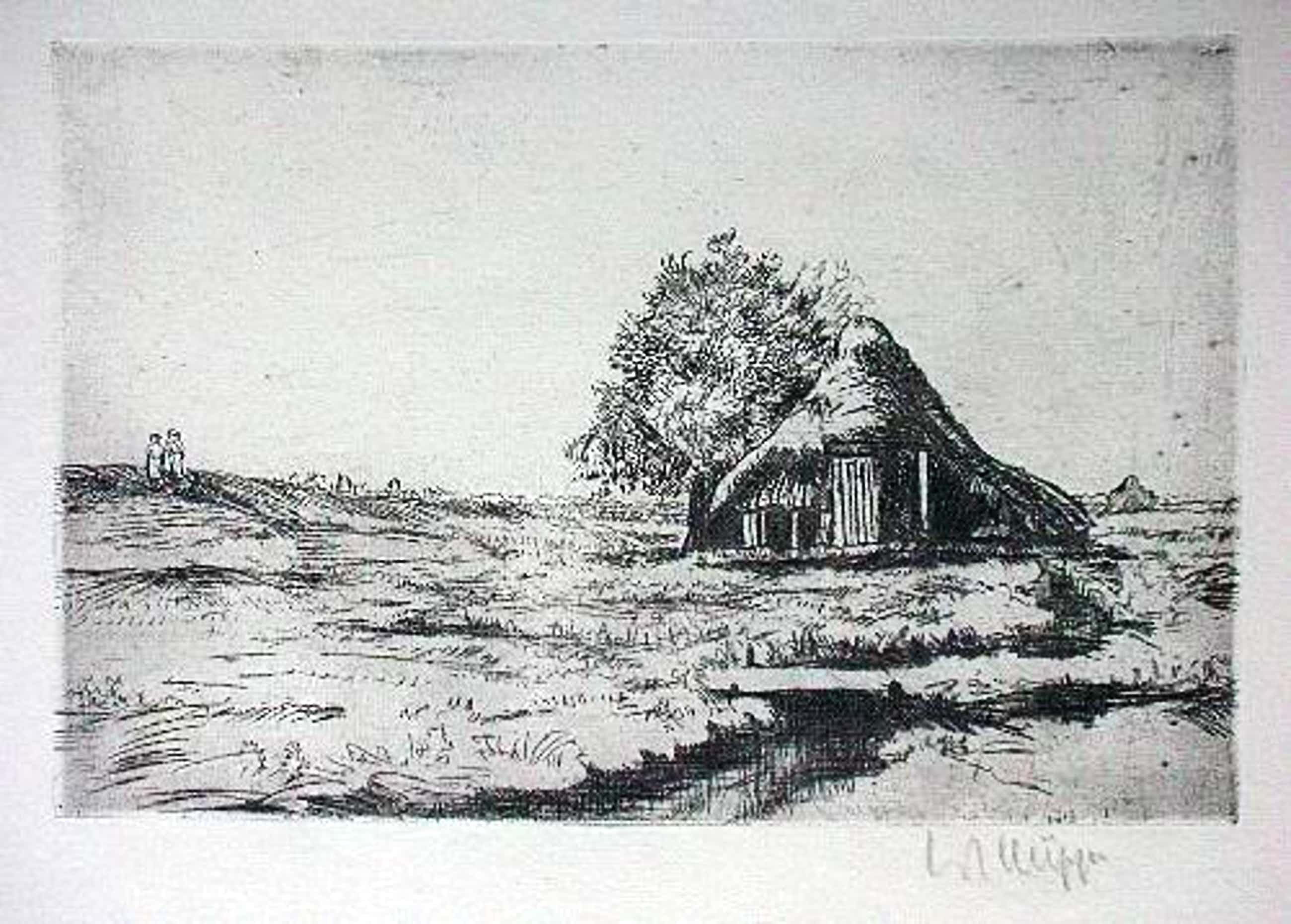 Walter Julius Küpper - Orig. Radierung 1947, Hütte in der Heide, signiert kopen? Bied vanaf 60!