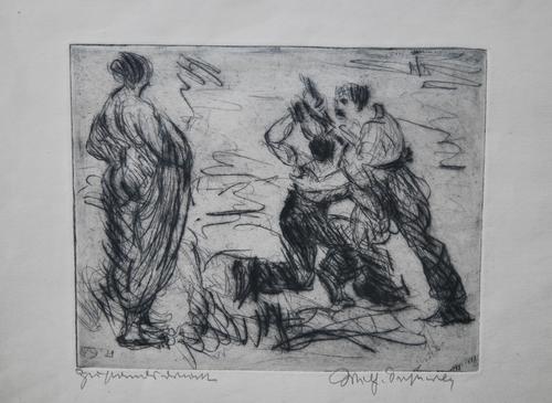 Wilhelm Oesterle - Orig. Radierung Akrobatischer Tanz, signiert, dat. (19)21, bez. Zustandsdruck kopen? Bied vanaf 85!