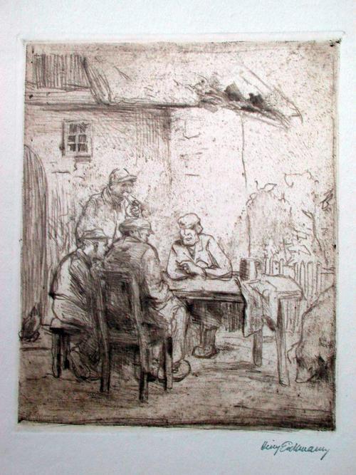 Heinrich Eickmann - Orig. Radierung Braundruck um 1900 Bauern im Gespräch kopen? Bied vanaf 25!