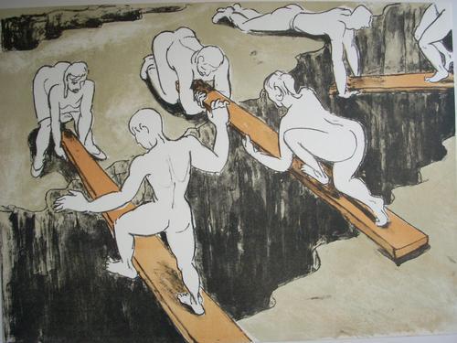 Thomas Bernstein - Original-Farblithogeraphie von 1991, verso handsigniert, Titel: Über Schluchten kopen? Bied vanaf 75!