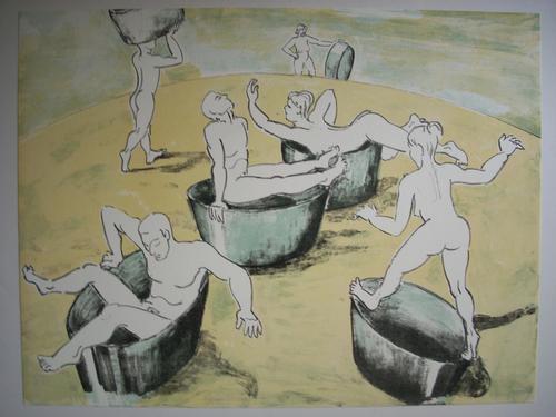 Thomas Bernstein - Original-Farblithographie von 1991, verso handsigniert , Titel: Auf´m Hügel kopen? Bied vanaf 75!