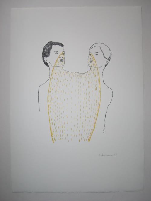 Ingrid Beckmann - Original-Farblithographie von 1998, handsigniert und datiert, Titel: Siamesen kopen? Bied vanaf 75!