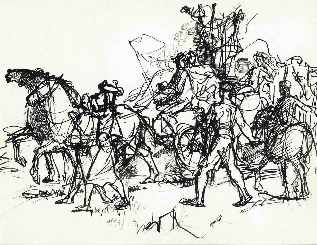 Heinrich Graf Luckner - Original Federzeichnung 1947 MYTOLOGISCHE PFERDEKUTSCHE - Handsigniert & datiert + Monogarmmiert kopen? Bied vanaf 440!