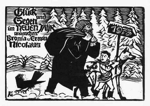 Conrad Felixmüller - Original-Holzschnitt, Söhn 674, 1973 - Jahresschlußgabe für Bronia und Erwin Nicolaus kopen? Bied vanaf 35!