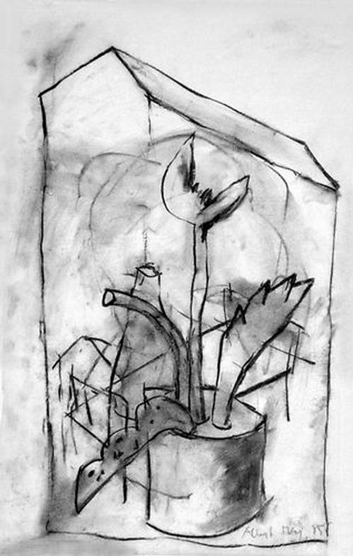 Albert Merz - Original-Kohlezeichnung von 1985 auf Seidenpapier, signiert und datiert, UNIKAT kopen? Bied vanaf 275!
