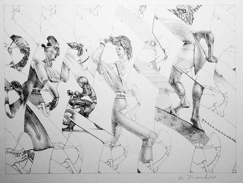 Andre Thomkins - Original Lithographie auf Büttenpapier Eltern haften für ihre Kinder 1975 kopen? Bied vanaf 240!