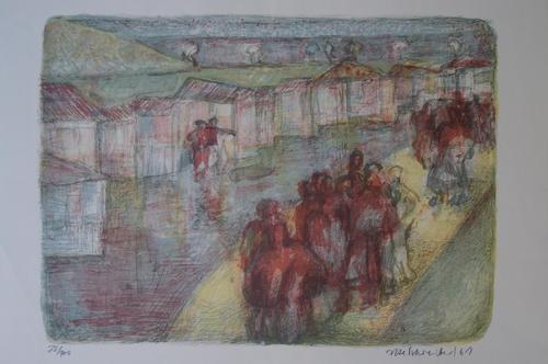 Ute Schreiber - Original-Lithographie, signiert und nummeriert, Landschaft kopen? Bied vanaf 25!