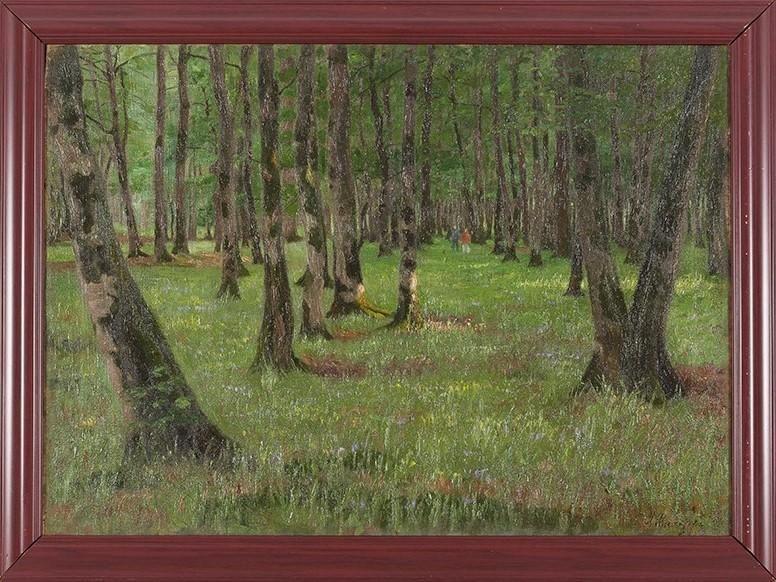 """Andrei Nikolaevich Shilder - ORIGINAL ÖLGEMÄLDE """"Waldlandschaft mit Wanderern"""" - Gelehrter von Ivan Shishkin kopen? Bied vanaf 2800!"""