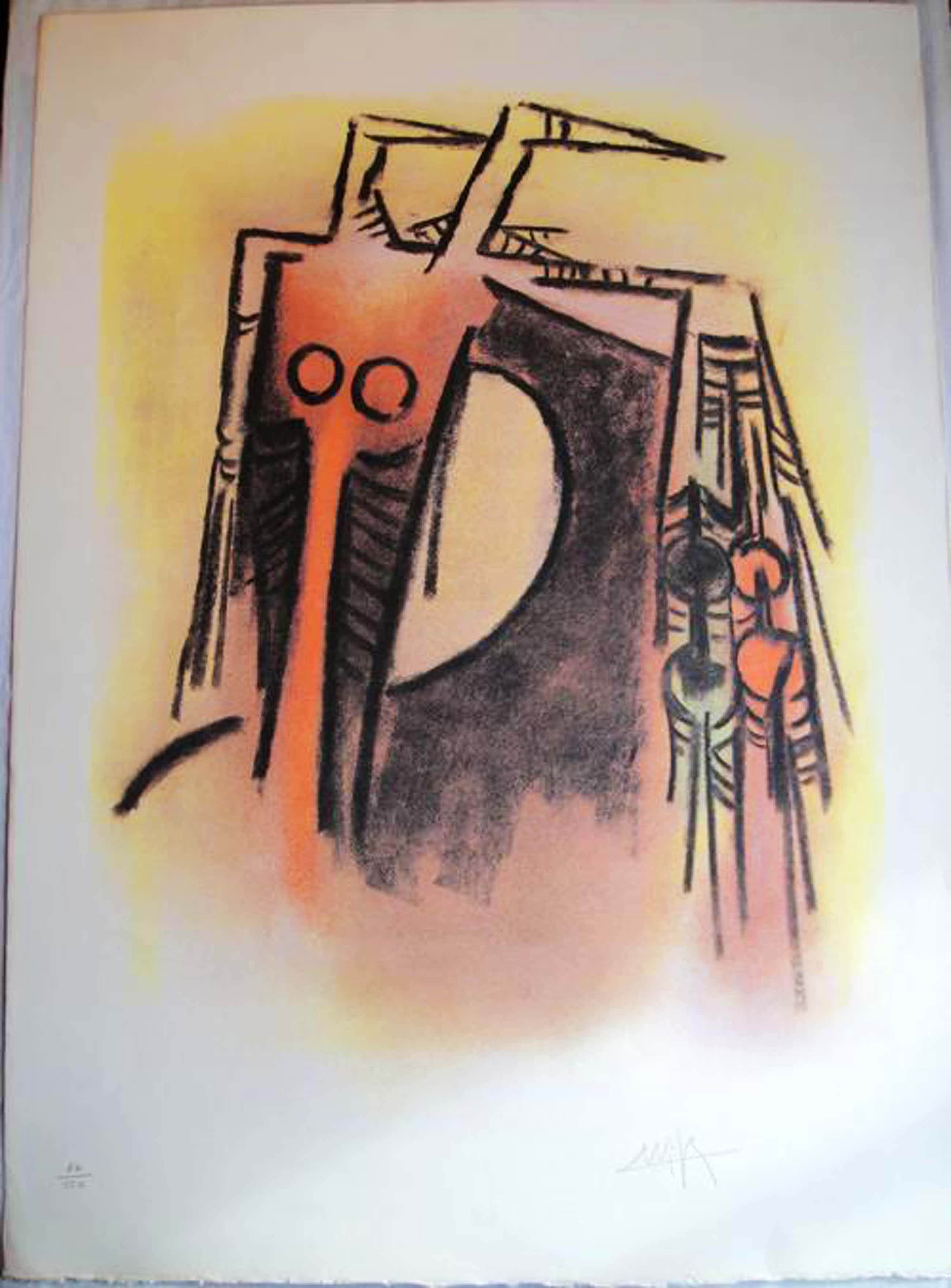 Wifredo Lam - Originale handsignierte Farblithografie - Sehr grosses Blatt kopen? Bied vanaf 490!