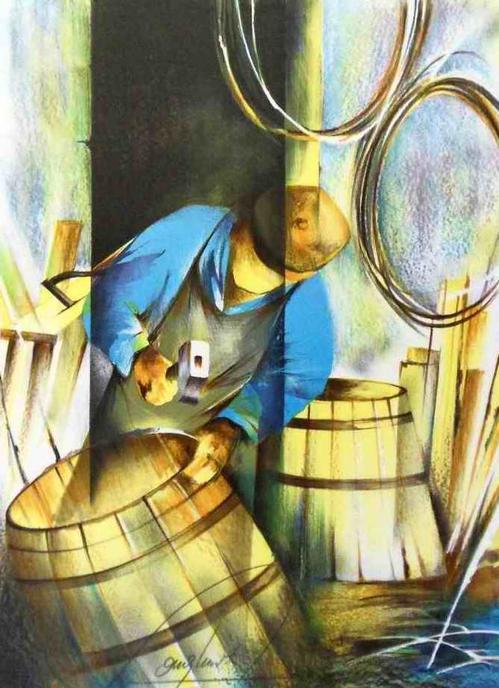 Raymond Poulet - OriginalFarbLithographie des Der BÖTTCHER - PARISer Künstlers aus der Reihe ALTE BERUFE kopen? Bied vanaf 48!