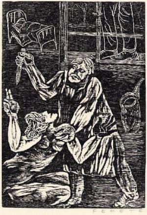 Esteban Fekete - Originalholzschnitt des grossen UNGARISCH-INTERNATIONALEN Künstlers zu PIRANDELLO handsigniert 1968 kopen? Bied vanaf 45!