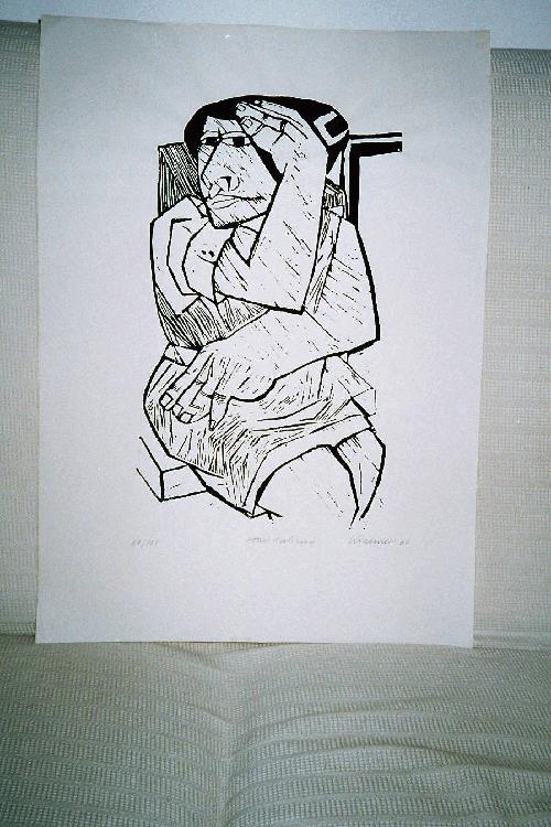 "Dieter Krämer - Originalholzschnitt, ""Sitzende"", handsigniert, Handabzug, 1960 kopen? Bied vanaf 190!"